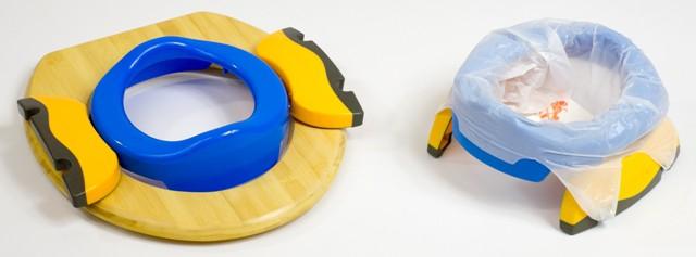 Potette Plus bleu présenté en pot nomade et réducteur de toilettes